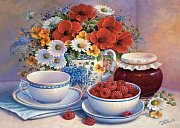 Still life - Flowers and raspberries